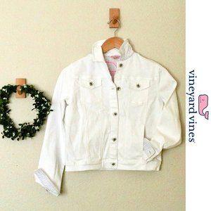 Vineyard Vines Girls L White Denim Jacket
